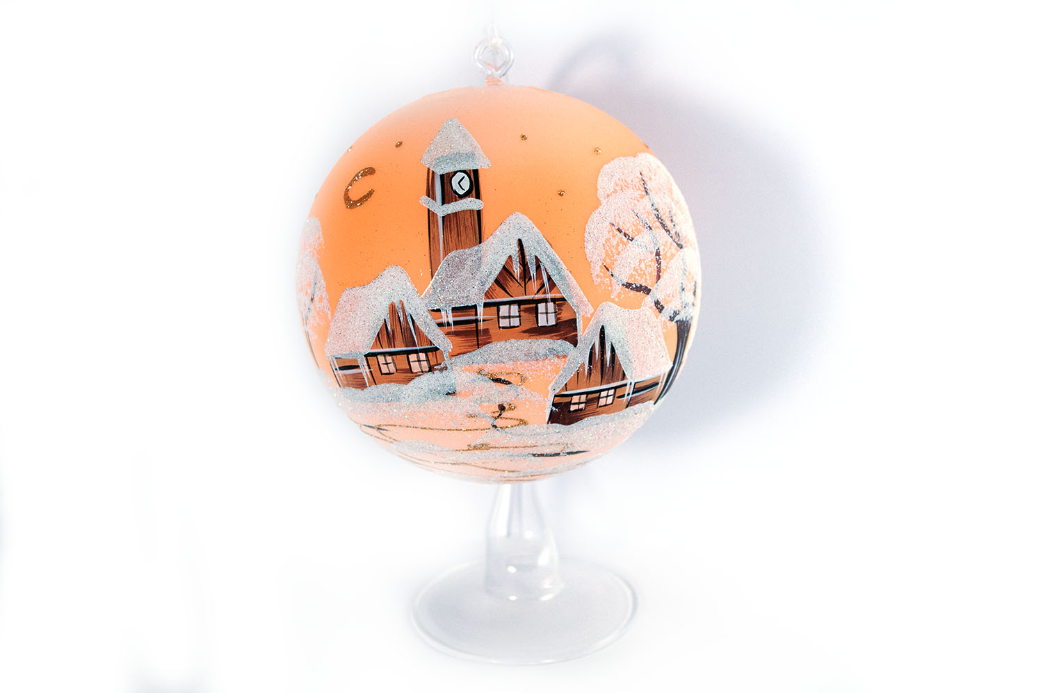 Christmas Candle Balls - Classic Paint 1-Orange- 15cm + Stand