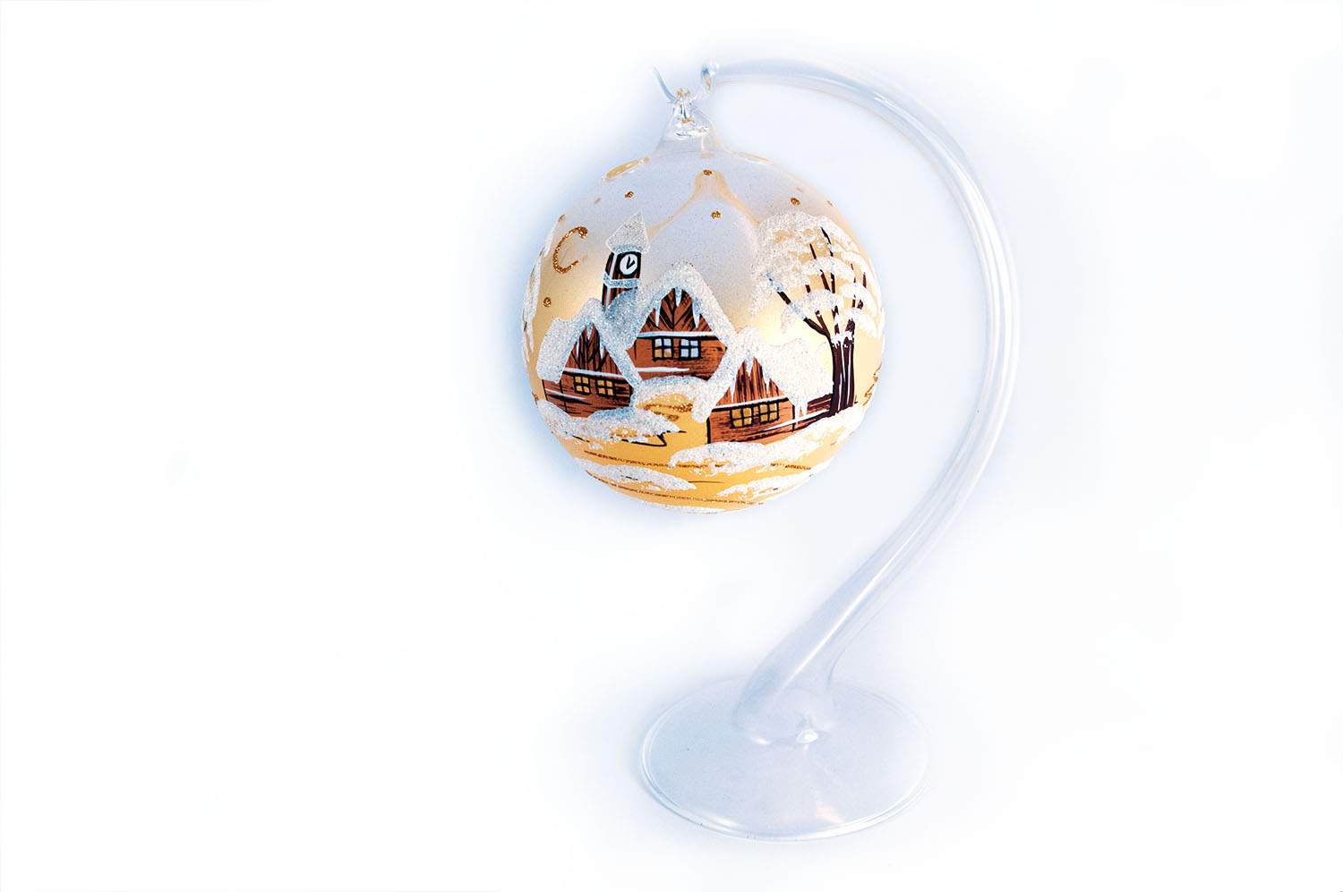 Christmas Candle Balls - Classic Painting 1 - Gold - 15cm + Stand