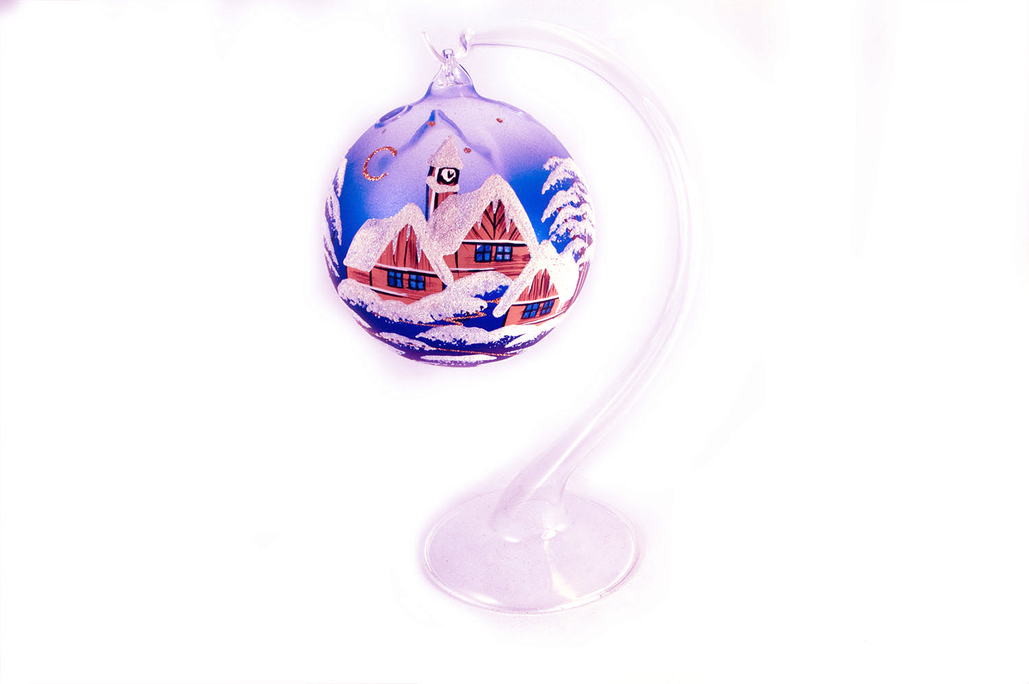Christmas Candle Balls - Classic Painting 1 - Violet 15cm + Stand